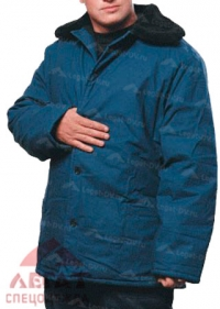 Куртка ватная с мех.воротником (синяя)