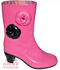 Сапоги ПВХ (Сардоникс) на каблуке Венеция роз.