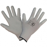 Перчатки нейлоновые с ПУ покрытием (белые)