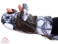 Варежки охотника флис-кожа (белый лес)