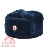 Шапка-ушанка комб. мех овчина т. синяя