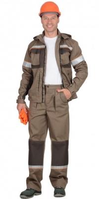 Костюм Родос (куртка+брюки) св.коричневый+т.коричневый тк.Родос
