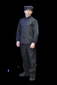 Костюм повара Суши (черный с красн. отделкой, тк. Тиси) ВИЛАН